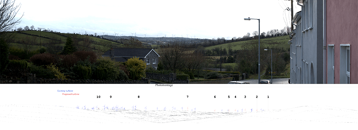 Use of wireframe modelling in conjunction with photomontages to represent proposed views of a wind farm development.