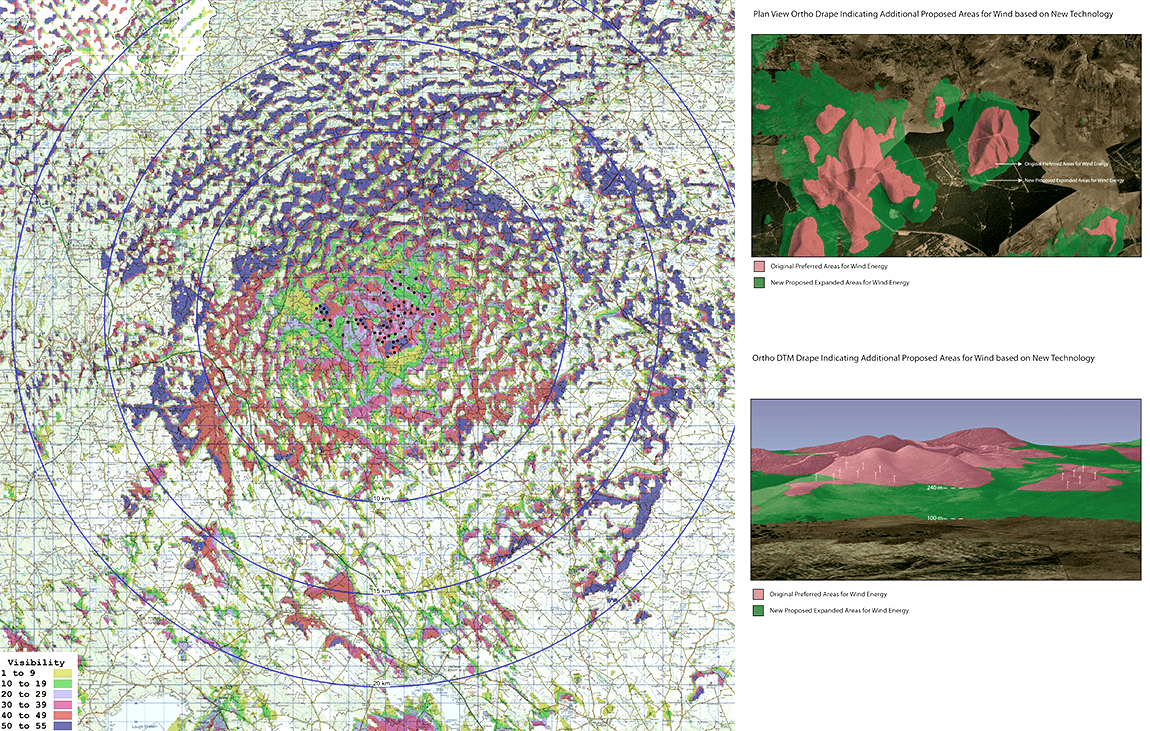 A 20km radius 'Zone of Theoretical Visibility' (ZTV) model indicating the potential visual exposure of a wind farm in drumlin topography.  Plan and 3D view of landscape draping model – a tool for highlighting and comparing terrain with regard to development potential.