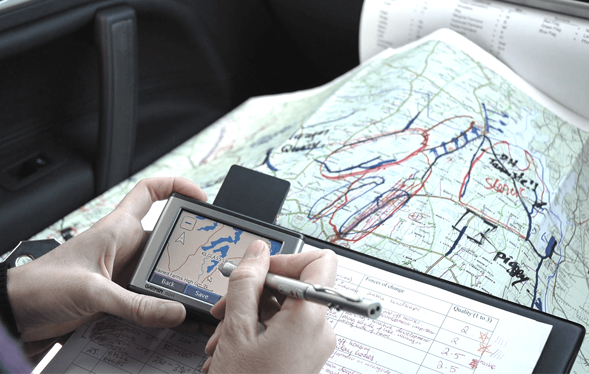 Satellite Navigation and Global Positioning Systems ensure precise correlation between MosArt's desk studies and fieldwork as well as guiding other consultants to viewpoint locations.